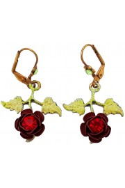 Michal Negrin Red Rose with Leaves Earrings