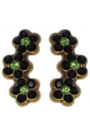 Michal Negrin Black Green Climbing Stud Earrings