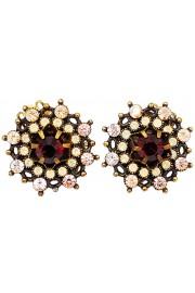 Michal Negrin Peach Garnet Crystals Clip Earrings