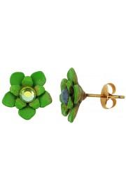 Michal Negrin Green Flower Stud Earrings