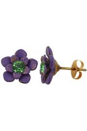 Michal Negrin Purple Green Flower Stud Earrings