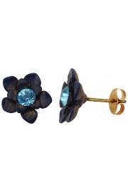 Michal Negrin Blue Aqua Flower Stud Earrings