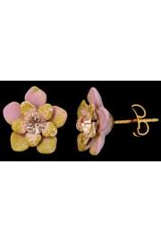 Michal Negrin Pink Peach Green Swirl Flower Stud Earrings