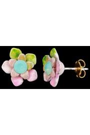 Michal Negrin Pink Green Swirl Flower Stud Earrings
