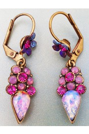 Michal Negrin Fuchsia Marble Crystal Earrings