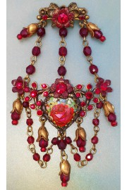 Michal Negrin Red Rose Cameo Crystal Beaded Brooch
