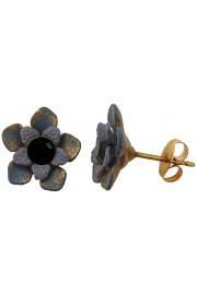 Michal Negrin Black Grey Flower Stud Earrings