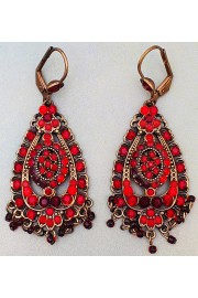 Michal Negrin Red Crystals Deco Earrings