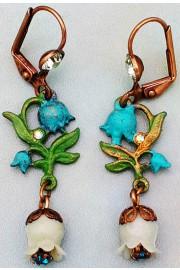 Michal Negrin Green Turquoise Bells Earrings