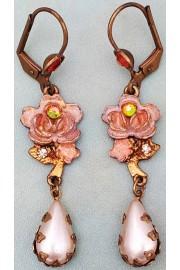 Michal Negrin Pearl Peach Rose Earrings