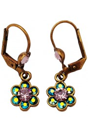 Michal Negrin Mirror Blue Lilac Crystals Flower Earrings