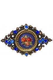 Michal Negrin Blue Roses Cameo Brooch
