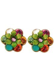Michal Negrin Multicolor Crystal Flowers Stud Earrings