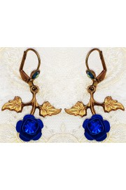 Michal Negrin Blue Rose with Leaves Earrings