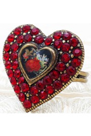 Michal Negrin Red Crystal Heart Cameo Ring