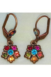 Michal Negrin Multicolor Small Crystal Flower Earrings