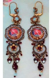 Michal Negrin Rose Cameo Sea Green Red Earrings