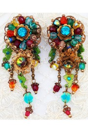 Michal Negrin Multicolor Beaded Clip Earrings