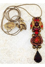 Michal Negrin Antique Red Floral Pendant Necklace