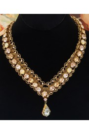 Michal Negrin Peach Gold Crystal V Necklace