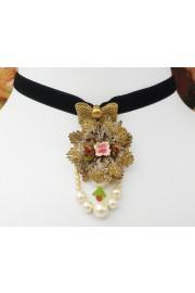 Michal Negrin Black Baroque Pearls Velvet Choker