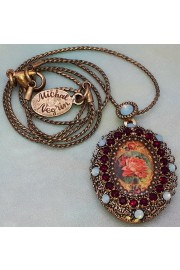 Michal Negrin Sea Green Red Rose Locket Necklace