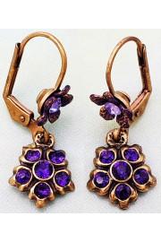 Michal Negrin Purple Small Crystal Flower Earrings