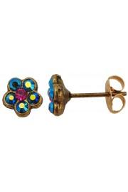 Michal Negrin Mirror Blue Fuchsia Crystals Mini Stud Earrings