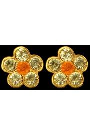 Michal Negrin Yellow Orange Crystals Mini Stud Earrings