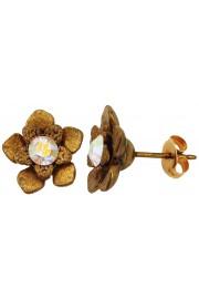 Michal Negrin Gold Aurora Borealis Flower Stud Earrings