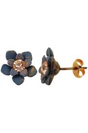 Michal Negrin Grey Peach Flower Stud Earrings