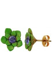 Michal Negrin Green Purple Flower Stud Earrings