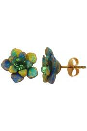 Michal Negrin Green Swirl Flower Stud Earrings