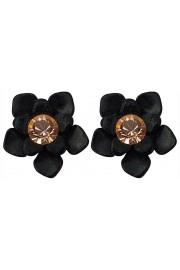 Michal Negrin Black Peach Flower Stud Earrings