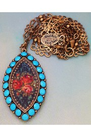 Michal Negrin Turquoise Marquise Roses Pendant Necklace