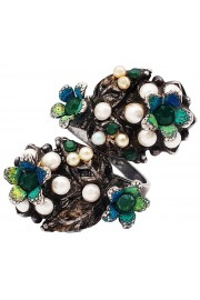 Michal Negrin Silver Plated Snake Flowers Ring