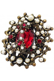 Michal Negrin Red Pearl Royal Ring