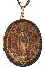 Michal Negrin Christian Iconography Large Filigree Locket Necklace