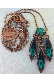 Michal Negrin Turquoise Marquise Pendant Necklace