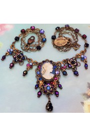 Michal Negrin Blue Purple Victorian Lady Cameo Necklace