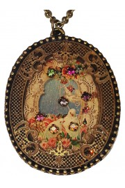 Michal Negrin Doves Oval Filigree Necklace
