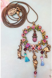 Michal Negrin Floral Wearth Drop Necklace