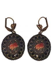 Michal Negrin Black Rose Oval Earrings