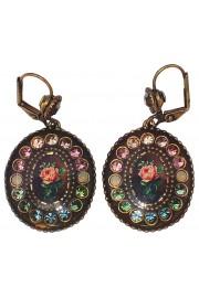 Michal Negrin Pink Green Aqua Rose Oval Crystal Earrings