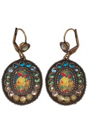 Michal Negrin Retro Rose Oval Crystal Earrings