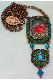 Michal Negrin Green Crystals Rose Cameo Necklace