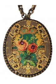 Michal Negrin Baroque Roses Oval Filigree Necklace