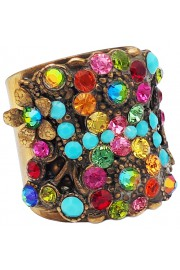 Michal Negrin Multicolor Turquoise Crystal Cuff Ring