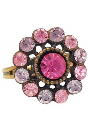 Michal Negrin Pink Lilac Round Flower Ring