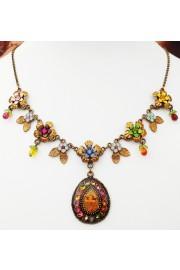 Michal Negrin Multicolor Flowers Cherub Necklace